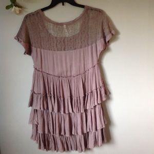 Free People Dresses - Free People Boho Sunbeam Mini Dress Taupe XS